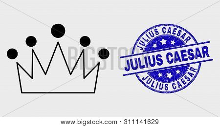 Vector Stroke Crown Pictogram And Julius Caesar Seal Stamp. Blue Rounded Scratched Seal Stamp With J