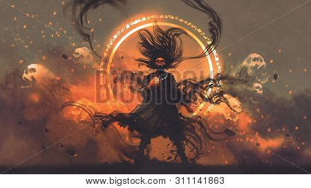The Angry Sorcerer Of Evil Spirits Holds A Magic Gem Cast A Spell, Digital Art Style, Illustration P