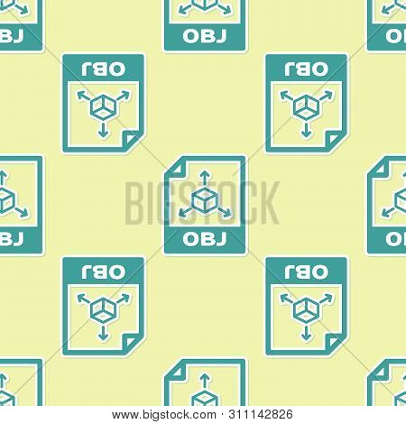Green Obj File Document Icon. Download Obj Button Icon Isolated Seamless Pattern On Yellow Backgroun