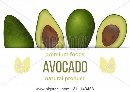 Avocado Card Template With Copy Space On Stripe. Ripe Raw Fruit. Persea Americana Exotic
