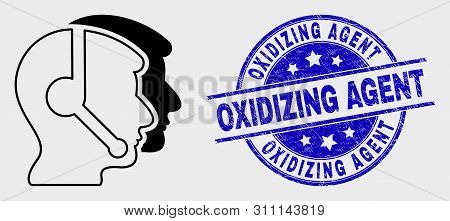 Vector Stroke Call Service Operators Icon And Oxidizing Agent Seal Stamp. Blue Round Grunge Seal Sta