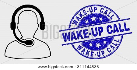 Vector Stroke Radio Operator Icon And Wake-up Call Watermark. Blue Round Scratched Watermark With Wa