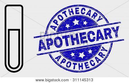 Vector Contour Test-tube Icon And Apothecary Seal Stamp. Blue Rounded Grunge Seal Stamp With Apothec