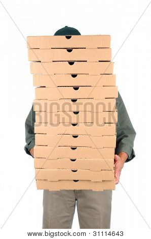 A Pizza Deliveryman hidden behind a large stack of boxes he is carrying. Vertical format over white.