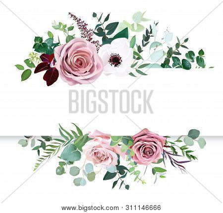 Dusty Pink Rose, Pale Flowers, White Anemone Horizontal Botanical Vector Design Banner. Eucalyptus,
