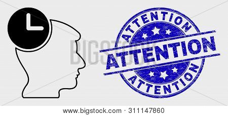 Vector Contour Head Clock Pictogram And Attention Seal Stamp. Blue Rounded Textured Seal With Attent