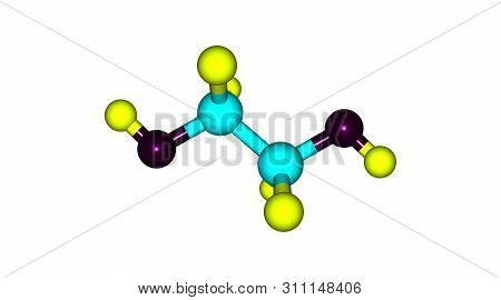 Ethylene Glycol Molecular Structure Isolated On White