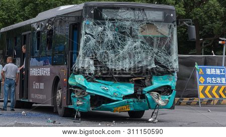 16 August, 2018. Suzhou City, China. Road Accident. Passenger Bus Crasshed.