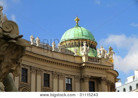 The Michaelertrakt of the Hofburg in Vienna Austria. View from the Michaelerplatz. poster