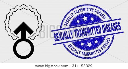 Vector Contour Insemination Icon And Sexually Transmitted Diseases Seal Stamp. Blue Rounded Scratche