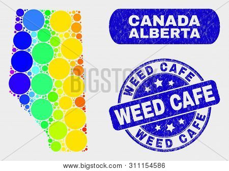 Spectral Dotted Alberta Province Map And Seals. Blue Round Weed Cafe Distress Seal. Gradiented Spect