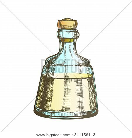 Decorative Crystal Carafe Tequila Drink Vector. Mexican Alcoholic Beverage In Elegance Closed Glass
