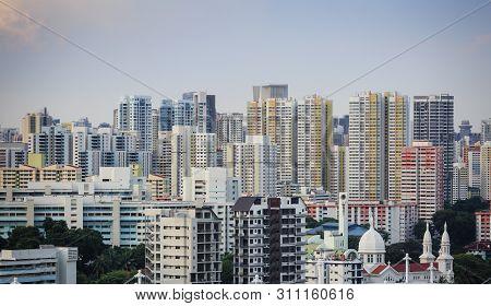 Singapore-28 Dec 2018: Singapore Center Zone Residential Hdb Building Area Skyline