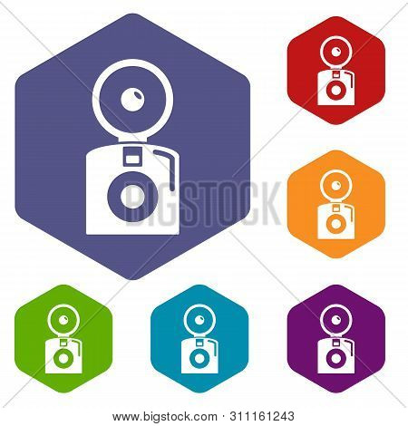 Oldschool Camera Icons Colorful Hexahedron Set Collection Isolated On White