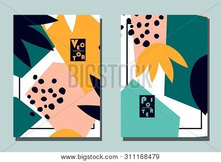 Trendy Cover With Graphic Abstract Shapes And Floral Leaves. Two Modern Vector Flyers In Avant-garde