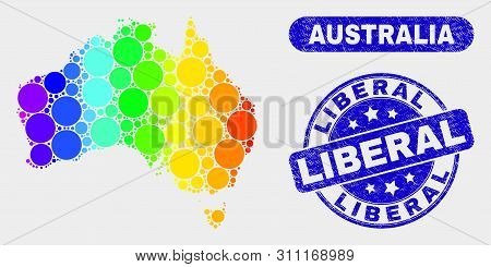 Spectral Dotted Australia Map And Seal Stamps. Blue Rounded Liberal Grunge Seal Stamp. Gradiented Sp