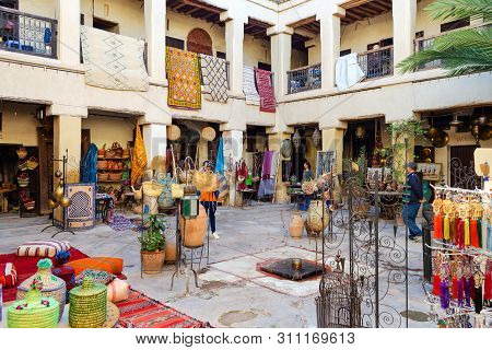 Morocco. Marrakesh. December 8, 2018. Beautiful Streets With Souvenir Shops In Marrakesh, Morocco Tr