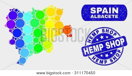 Rainbow Colored Spotted Albacete Province Map And Watermarks. Blue Round Hemp Shop Scratched Waterma