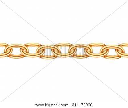 Golden Chain Seamless Texture. Realistic Gold Chains Link Isolated On White Background. Jewelry Chai