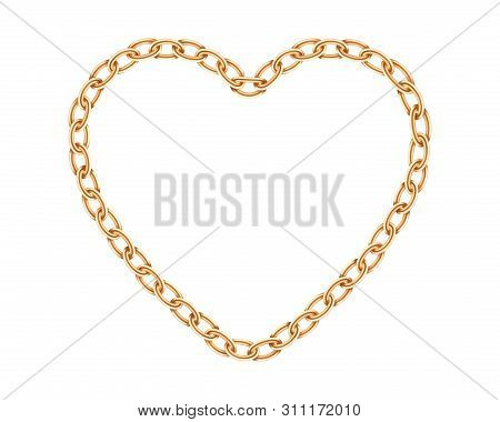 Realistic Golden Chain Texture. Gold Chains Link Heart Isolated On White Background. Love Symbol Jew