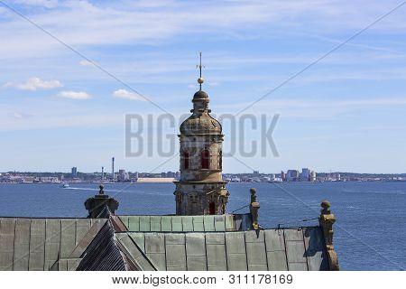 Helsingor, Denmark - June 23, 2019:  Medieval Kronborg Castle On The Oresund Strait, Baltic Sea