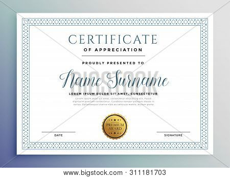 Classic Certificate Award Template Design Vector Illustration