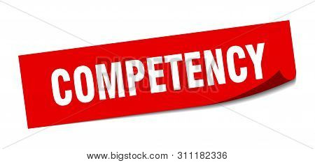 Competency Sticker. Competency Square Isolated Sign. Competency