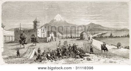 French intervention in Mexico: troops in Ojotepec. Created by Provost, published on L'Illustration, Journal Universel, Paris, 1863
