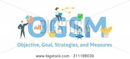 Ogsm, Objectives, Goals, Strategies And Measures. Concept With People, Letters And Icons. Flat Vecto