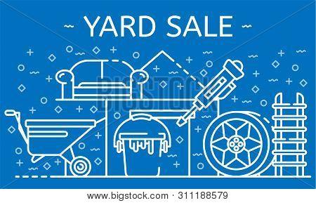 Yard Sale Banner. Outline Illustration Of Yard Sale Banner For Web Design