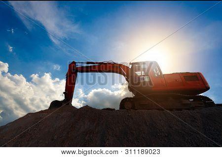 Silhouette Excavator Construction Equipment Of Street Construction. Business Construction. Construct