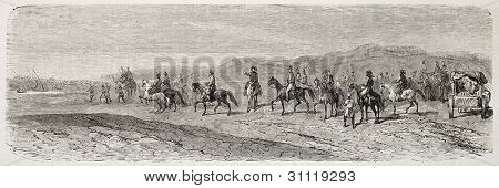 Duke of Brabant coming back in Suez after channel visit. Created by Blanchard, published on L'Illustration, Journal Universel, Paris, 1863