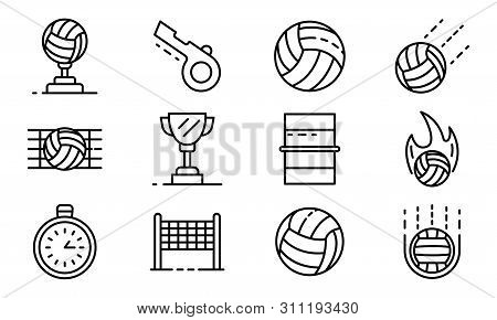 Volleyball Icons Set. Outline Set Of Volleyball Icons For Web Design Isolated On White Background