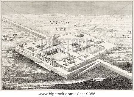 Palace of Khorsabad ruins, old bird eye view. Created by Sellier and Meunier, published on Magasin Pittoresque, Paris, 1882