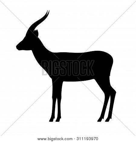 Black Silhouette Antelope Gazelle. Vector Illustration Isolated On White Background. Standing Antelo