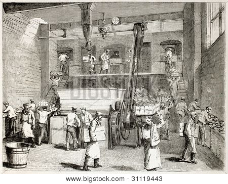 Stevens Company Bakery old illustration, London. By unidentified author, published on L'Illustration, Journal Universel, Paris, 1863