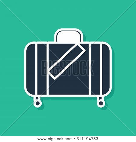 Blue Suitcase For Travel And Stickers Icon Isolated On Green Background. Traveling Baggage Sign. Tra