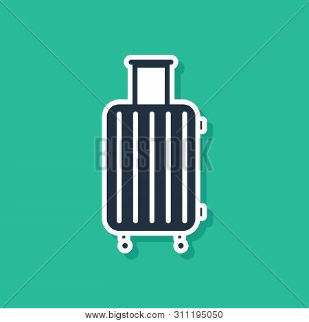 Blue Suitcase For Travel Icon Isolated On Green Background. Traveling Baggage Sign. Travel Luggage I