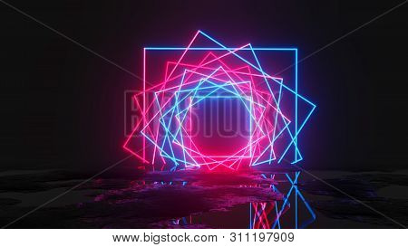 Glowing Neon Rectangles On Dark Background. 3d Illustration. Pink And Blue Design Trend
