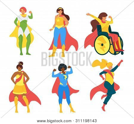 Female Superheroes Flat Vector Illustration Collection. Women Rights Campaigners, Superheroines Cart