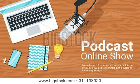 Online Show Flat Vector Illustration. Podcast, Blogging, Radio Broadcasting. Radio Host Workplace, H
