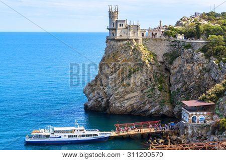 Swallow's Nest Castle At The Rocky Coast Of The Black Sea, Crimea, Russia