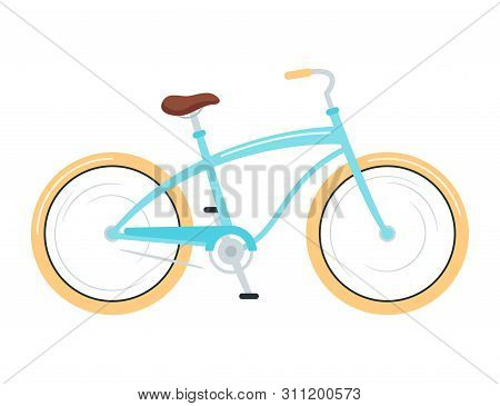 Cruiser Bicycle Flat Vector Illustration. Road Bike, Cycling Sport. Equipment For Outdoor Activity,