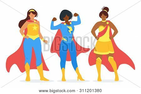 Young Girl Crimefighters With Capes Flat Vector Illustration Collection. Female Only Superhero Team