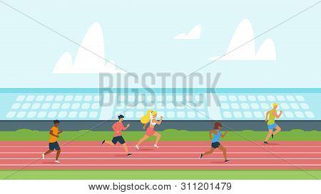 Highschool Students Running Track Flat Vector Illustration. Running Competition, Championship Cartoo