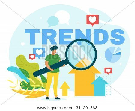 Internet Trends Flat Vector Web Banner Template. Social Media Networks Likes And Online Notification