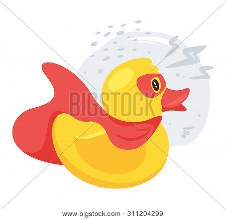 Rubber, Plastic Ducky Flat Vector Illustration. Superhero Bathroom, Shower, Bathtub Toy Duckling Car