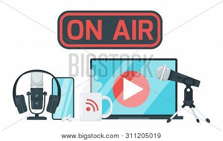 On Air Sign Color Vector Illustration. Record Studio Devices, Headphones, Microphone, Headset, Lapto
