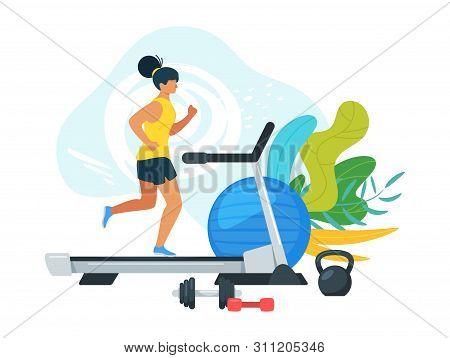 Sportswoman Running On Treadmill Cartoon Illustration. Getting In Shape, Improving Health Flat Vecto
