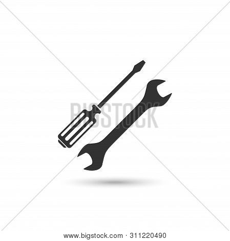 Screwdriver And Wrench Vector Icon Isolated On White Background From Construction Collection. Symbol